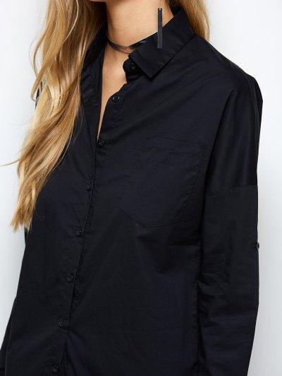 Long Sleeve Boyfriend Pocket Shirt - BLACK XS Mobile