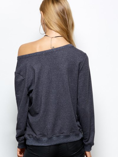 Loose Skew Neck Sweatshirt - GRAY L Mobile