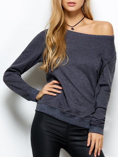 Loose Skew Neck Sweatshirt - GRAY M Mobile