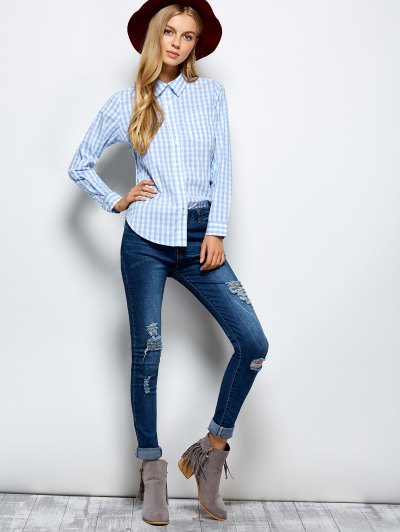 Checked Boyfriend Pocket Shirt - PLAID S Mobile
