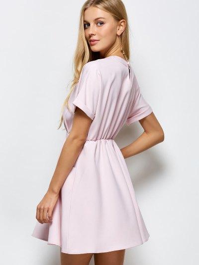 A Line Short Sleeve Choker Dress - PINK M Mobile