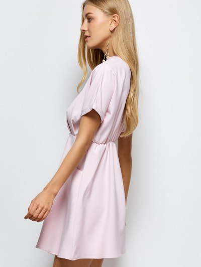 A Line Short Sleeve Choker Dress - PINK S Mobile