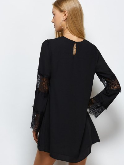 Long Sleeve Lace Panel Shift Dress - BLACK S Mobile