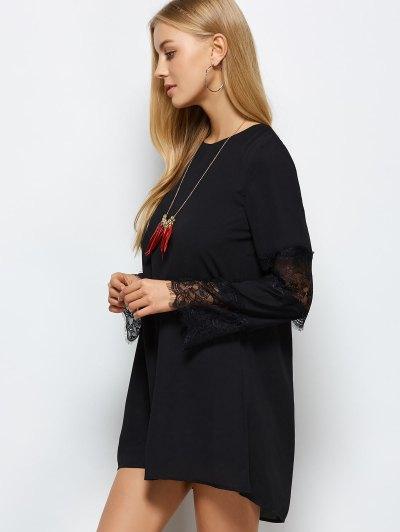 Long Sleeve Lace Panel Shift Dress - BLACK XS Mobile