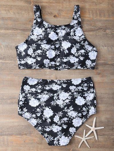 Full Zip Floral Bikini Set - BLACK XL Mobile