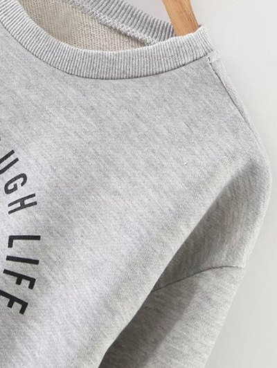Ice Skates Print Pullover Sweatshirt - GRAY L Mobile