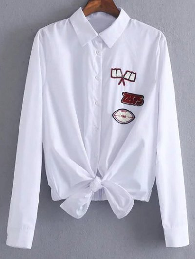 Tied Patch Boyfriend Shirt - WHITE M Mobile