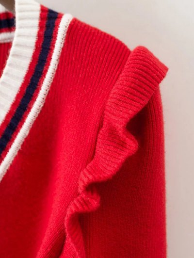Striped Ruffles V Neck Sweater - RED L Mobile
