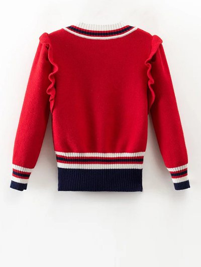 Striped Ruffles V Neck Sweater - RED M Mobile