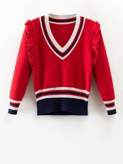 Striped Ruffles V Neck Sweater - RED S Mobile