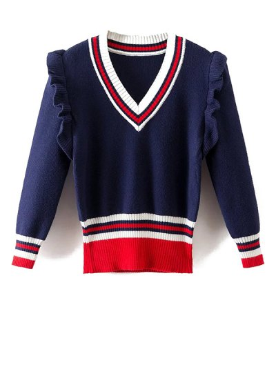 Striped Ruffles V Neck Sweater - BLUE M Mobile