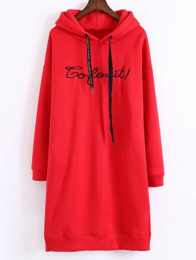 Letter Embroidered Hoodie Dress - RED ONE SIZE Mobile
