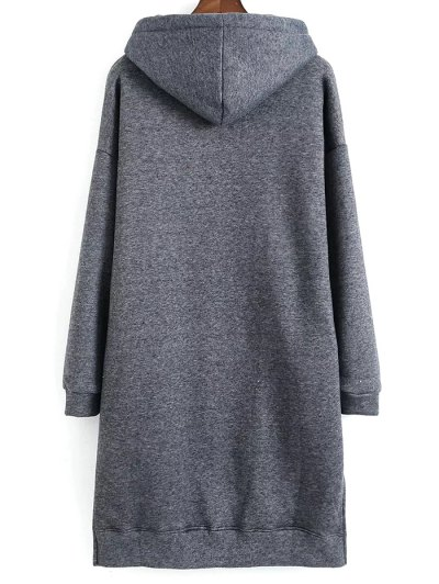 Letter Embroidered Hoodie Dress - GRAY ONE SIZE Mobile
