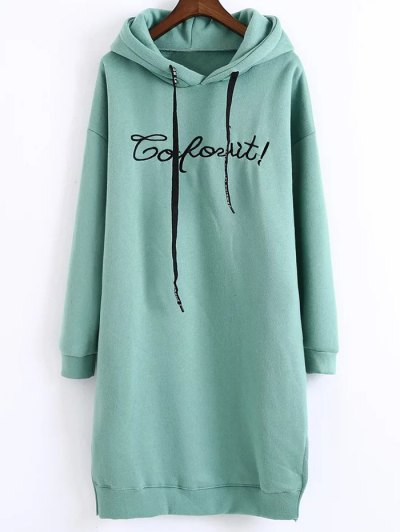 Letter Embroidered Hoodie Dress - GREEN ONE SIZE Mobile