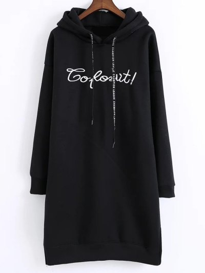 Letter Embroidered Hoodie Dress - BLACK ONE SIZE Mobile
