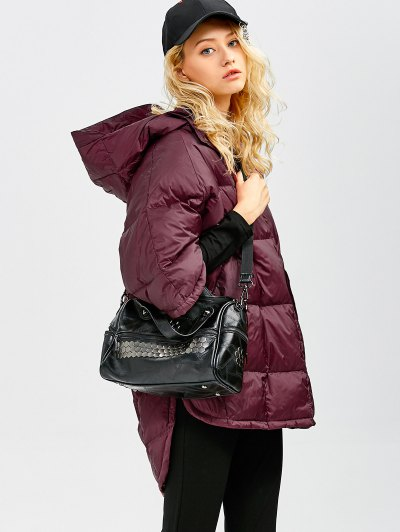 Oversized High-Low Down Coat - WINE RED L Mobile