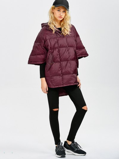 Oversized High-Low Down Coat - WINE RED S Mobile
