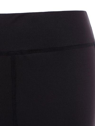 Mesh Insert Athletic Leggings - BLACK 2XL Mobile