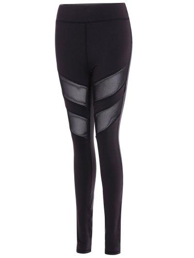 Mesh Insert Athletic Leggings - BLACK L Mobile