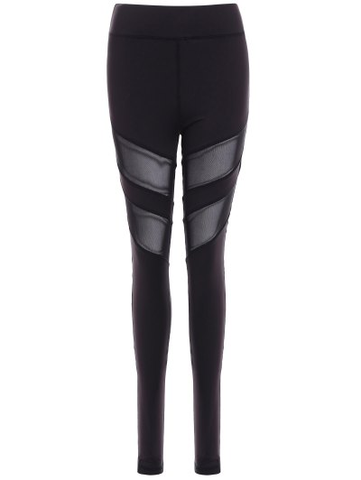Mesh Insert Athletic Leggings - BLACK M Mobile