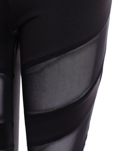 Mesh Insert Athletic Leggings - BLACK S Mobile
