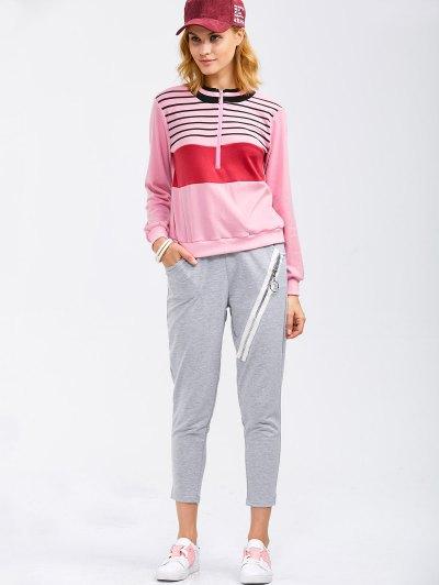 Drawstring Running Pants With Zipper - LIGHT GRAY L Mobile