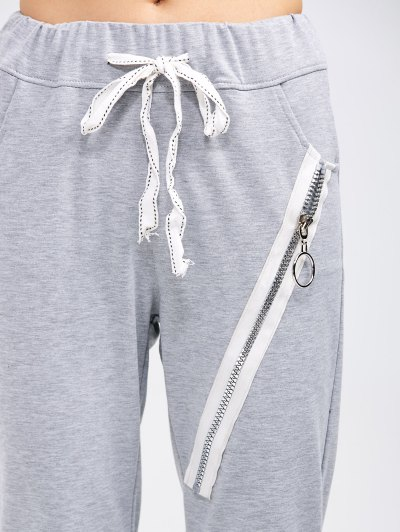 Drawstring Running Pants With Zipper - LIGHT GRAY M Mobile