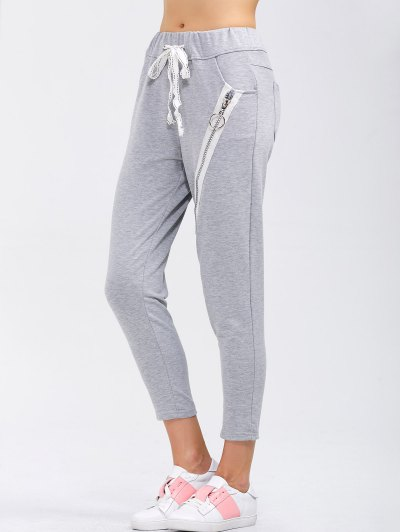 Drawstring Running Pants With Zipper - LIGHT GRAY S Mobile