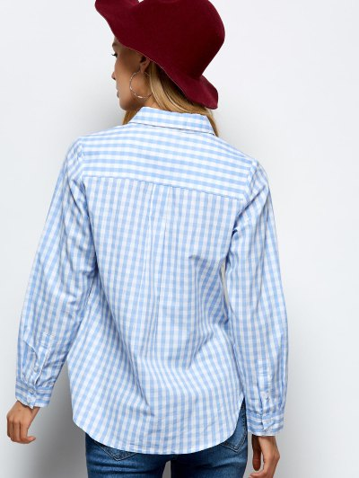 Checked Boyfriend Pocket Shirt - PLAID 2XL Mobile