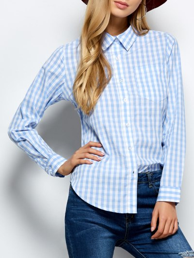 Checked Boyfriend Pocket Shirt - PLAID XL Mobile