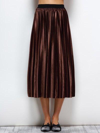 Velvet Accordion Pleat Skirt