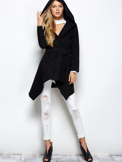 Hooded Asymmetric Wrap Coat - BLACK XL Mobile