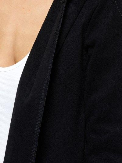Hooded Asymmetric Wrap Coat - BLACK L Mobile