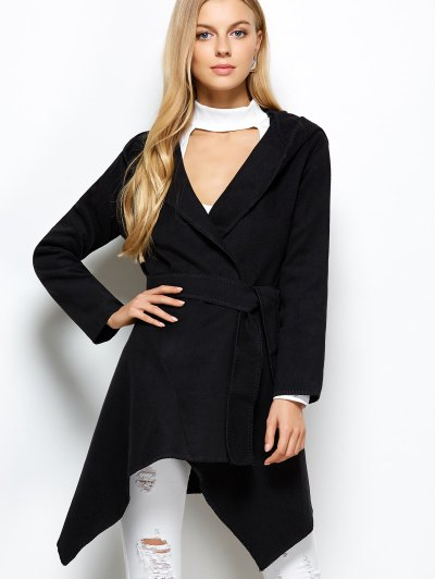 Hooded Asymmetric Wrap Coat - BLACK M Mobile