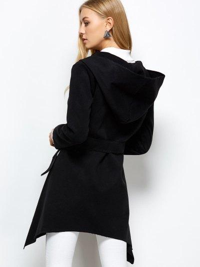 Hooded Asymmetric Wrap Coat - BLACK S Mobile