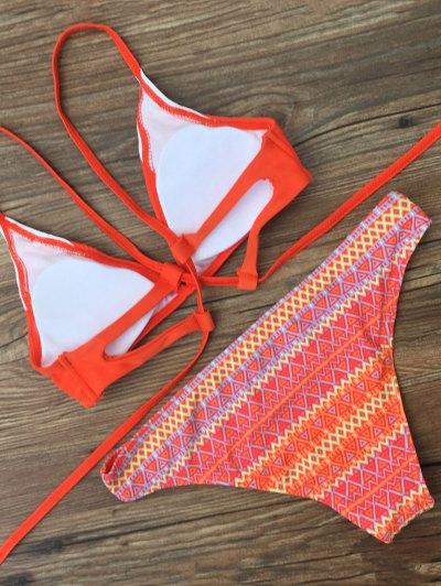 Cami Zig Zag Bikini Set - ORANGEPINK M Mobile