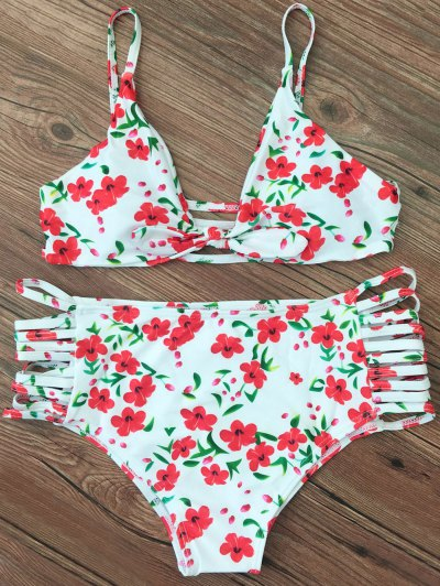 Cami Strappy Floral Bikini Set - WHITE XL Mobile
