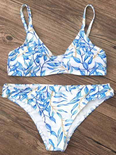 Bright Printed Bikini Set - BLUE L Mobile