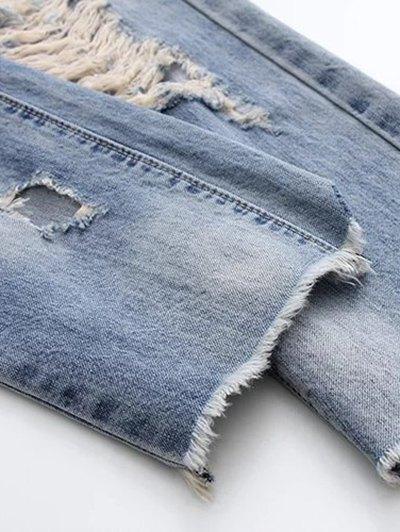 Ripped Skirted Jeans - DENIM BLUE L Mobile