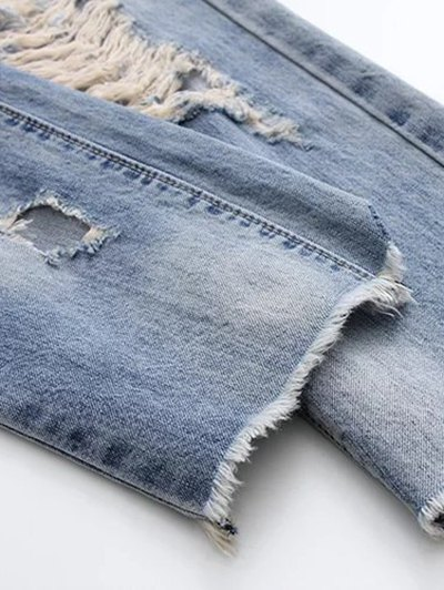 Ripped Skirted Jeans - DENIM BLUE M Mobile