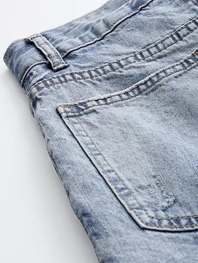 Ripped Skirted Jeans - DENIM BLUE S Mobile