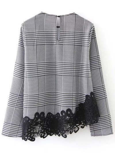 Houndstooth Lace Panel Blouse - WHITE AND BLACK M Mobile