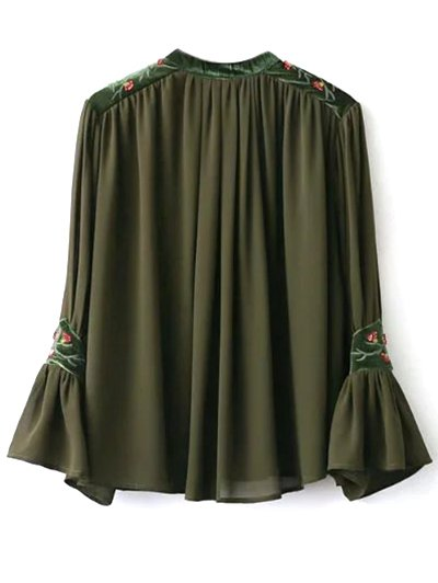 Embroidered Velvet Panel Blouse - ARMY GREEN M Mobile