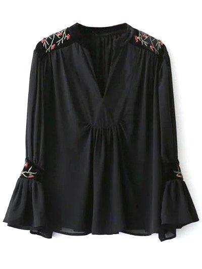 Embroidered Velvet Panel Blouse - BLACK L Mobile