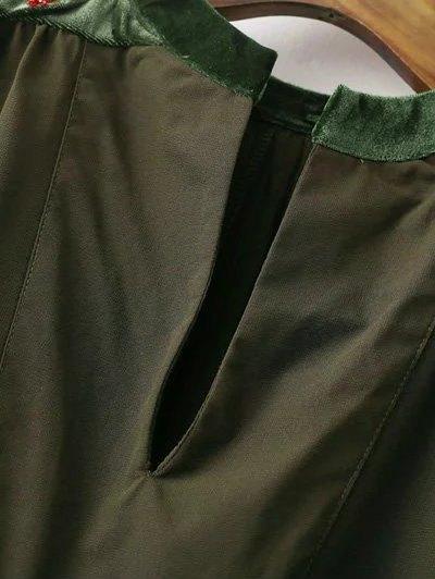 Embroidered Velvet Panel Blouse - BLACK M Mobile