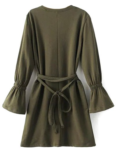 Flare Sleeve Round Neck Self Tie Dress - ARMY GREEN L Mobile
