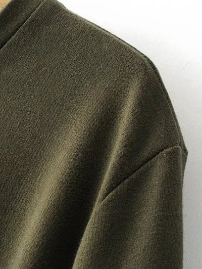 Flare Sleeve Round Neck Self Tie Dress - ARMY GREEN S Mobile