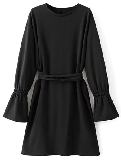 Flare Sleeve Round Neck Self Tie Dress - BLACK S Mobile