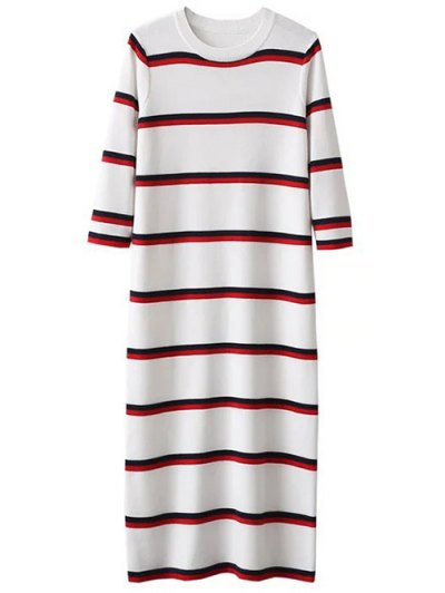 Crew Neck Striped Jumper Dress - WHITE ONE SIZE Mobile