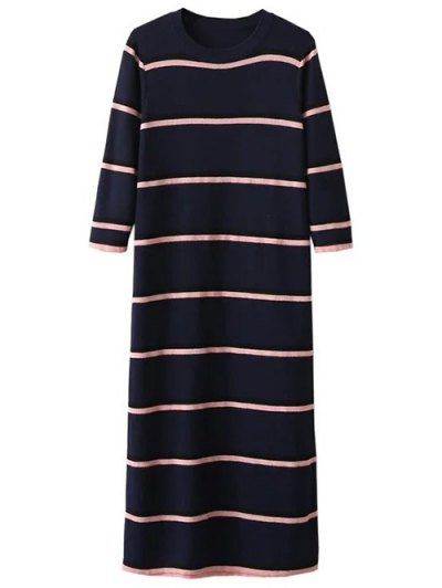 Crew Neck Striped Jumper Dress - PURPLISH BLUE ONE SIZE Mobile